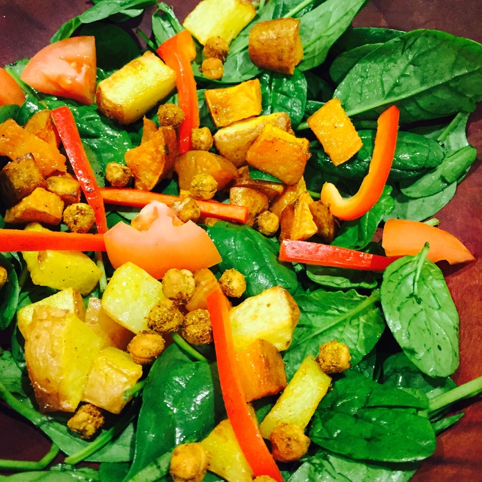 Spicy Chickpea, Sweet Potato And Spinach Salad