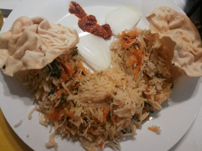 spinach and carrot rice, paalak rice