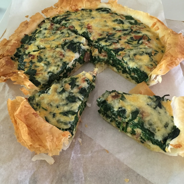 Spinach, Ham And Cheese Filo Quiche