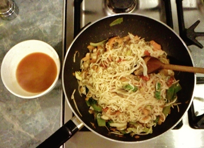 stir fry noodles with vegetables and soup