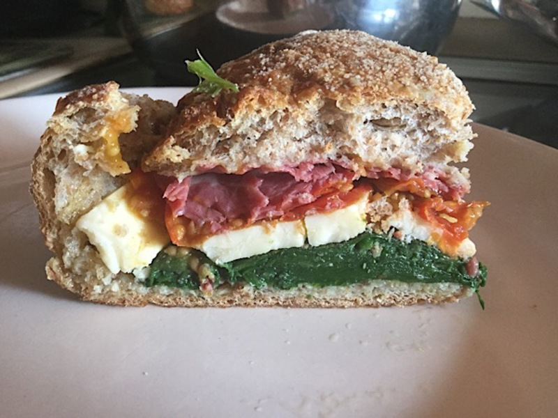 Stuffed cob sandwich, spinach, cheese, tomatoes, beef, cob, sandwich  - Stuffed Cob Sandwich