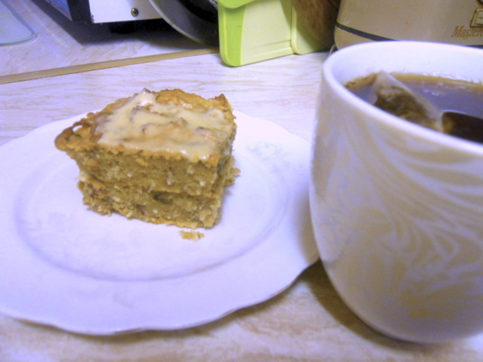 sweet potato & coconut cake, tea, cup of tea, tea and cake, coconut cake, sweet potato cake