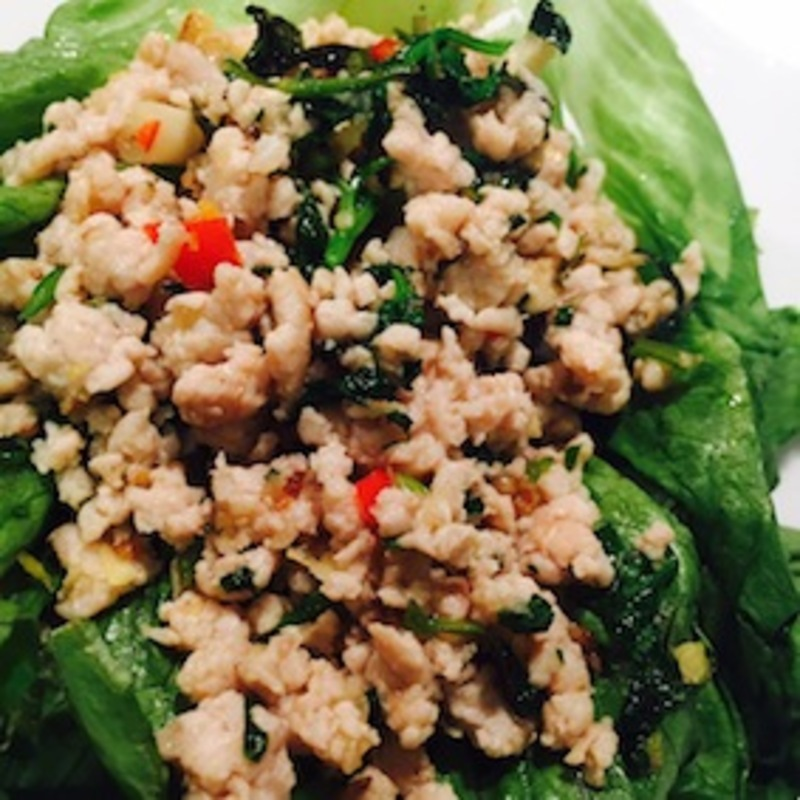 Thai Chicken Larb in lettuce