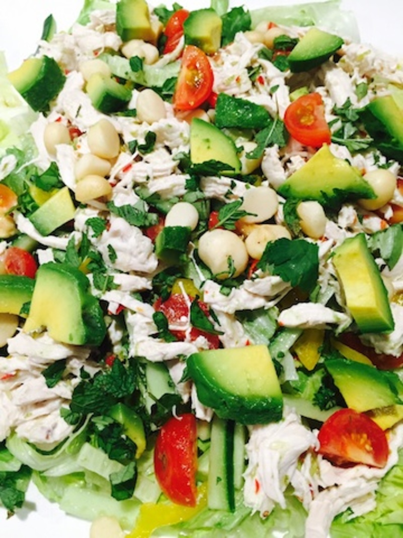 Thai Coconut and Avocado Chicken Salad  - Easy Thai Coconut Shredded Chicken And Avocado Salad With Lime And Chilli Sauce