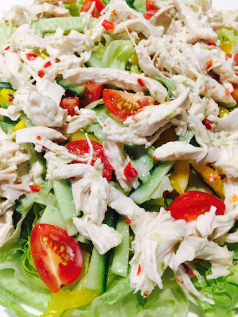 Thai Coconut and Avocado Chicken Salad yum  - Easy Thai Coconut Shredded Chicken And Avocado Salad With Lime And Chilli Sauce