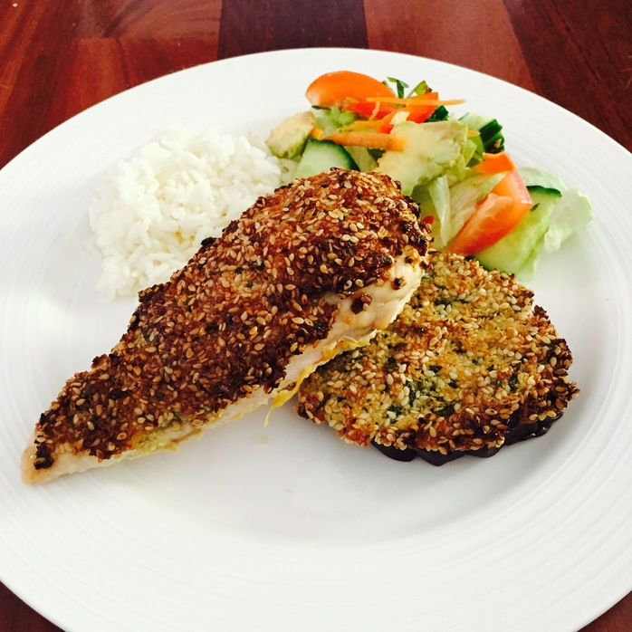 Thai Crusted Chicken With Lime And Coconut Dressed Salad