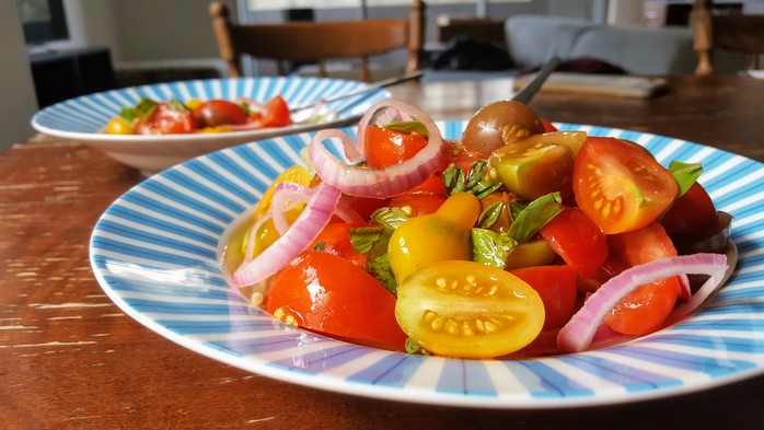 Tomato, Basil and Pickled Onion Salad