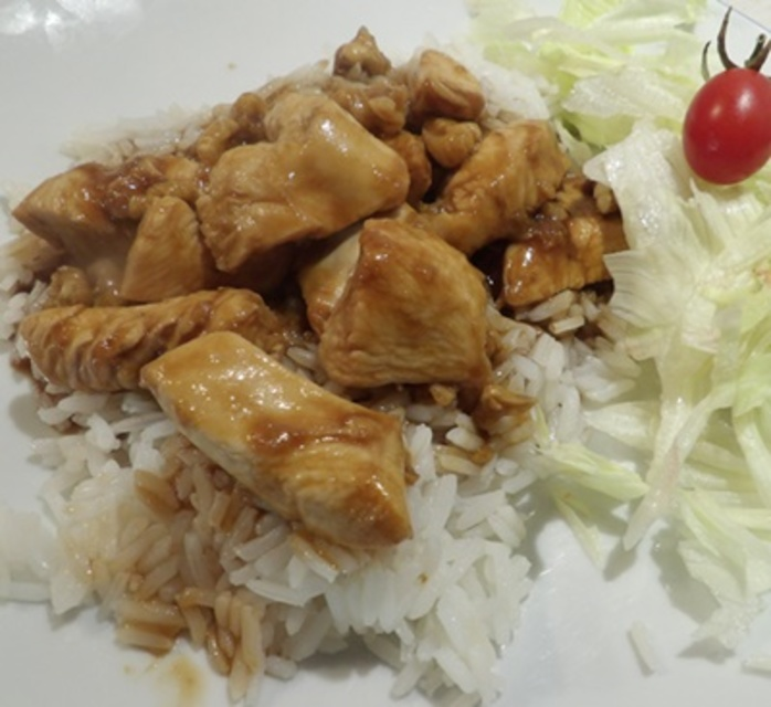 walnut,chicken,over,rice