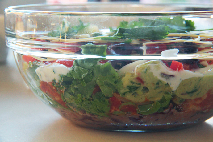 Healthy and yummy Mexican layered dip bowl