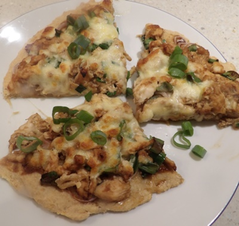 wholemeal,pizza,with,chicken,cheese,and,hoisin,sauce  - Wholemeal Pizza Base With Asian Style Topping