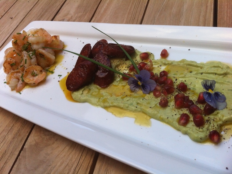 Served  - Grilled Prawns And Chorizo With Avocado And Pomegranate