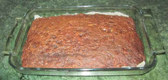 Zucchini brownie mixture ready for the oven